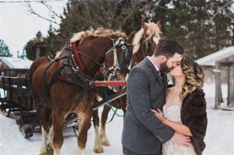 Wisconsin Winter Wedding Photos with Horses