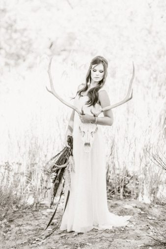 17-Bride-with-Antlers-Black-White-Film-style-Photos